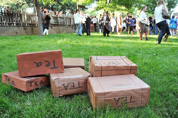 Boxes of tea sit on the lawn outside of Emmanuel Episcopal church following Wednesday's Grass Valley Charter School Boston Tea Party debate.