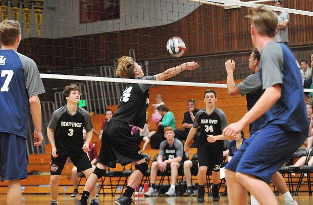 The Bear River Bruins boys volleyball team looks to get the ball back over the net during Tuesday's matchup against the Union Mine Diamondbacks.