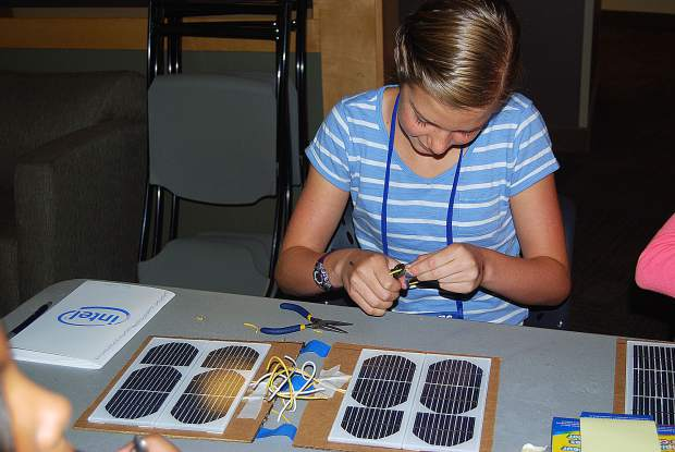 Keegan O'Sullivan, who attended Chicago Park School and Tech Trek camp in 2014, manufactured a solar notebook cell phone charger.