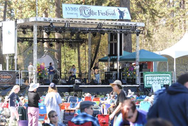 Celtic Festival goers surround the main stage at the Nevada County Fairgrounds during Saturday's festivities.