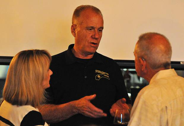 2018 candidate for Nevada County Sheriff and retired Grass Valley Police Chief John Foster speaks with his supporters Tuesday evening at the Golden Era lounge in Nevada City.