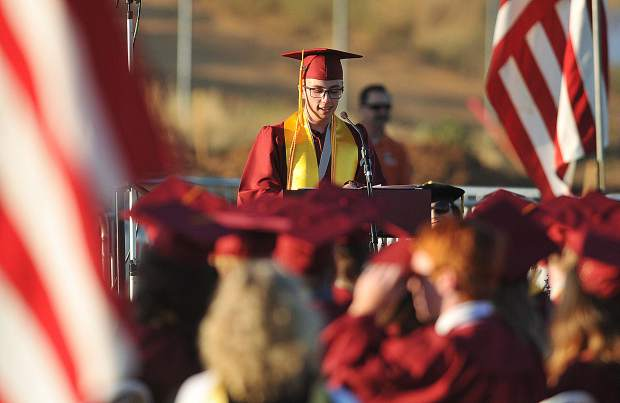 Valedictorian Hunter Kennedy gives his
