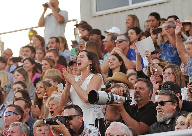 The crowd reacts as their graduates' name are called during the 2018 Bear River High School commencement ceremonies.