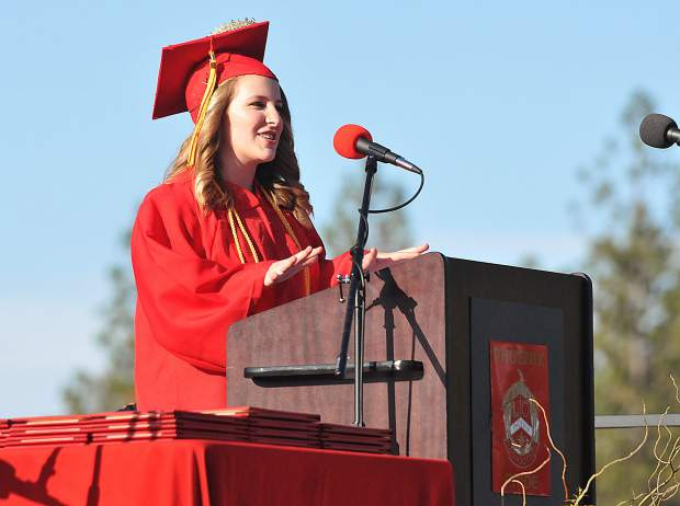 Ghidotti Early College High School class of 2018's Brighten Drake gives the valedictorian address during Wednesday's graduation ceremony held at Sierra College.