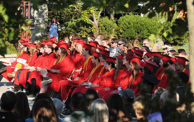 The 2018 Ghidotti Early College High School class conducts their graduation ceremony at the Sierra College quad.