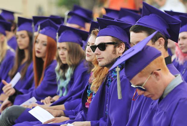 Silver Springs High School graduate Caleb Dickson looks on during the 2018 graduation ceremony Thursday afternoon in Grass Valley. The high school graduated 44 students.