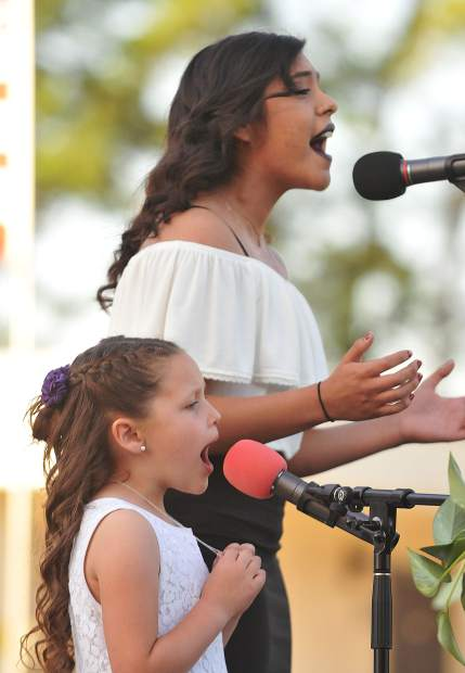 Silver Springs High School's Cecilia and Alaina Gonzalez sing