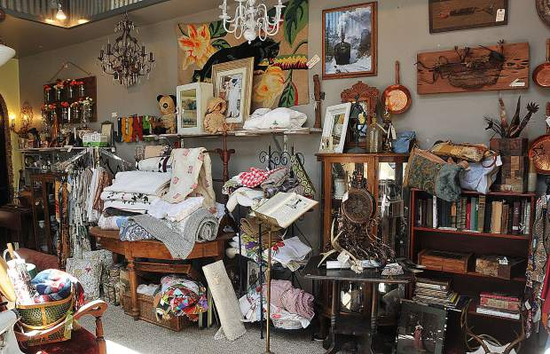 Escano's variety of vintage finds fills two floors of the historic Loutzenheiser Pharmacy Building located on the corner of North Auburn Street and West Main Street in downtown Grass Valley.