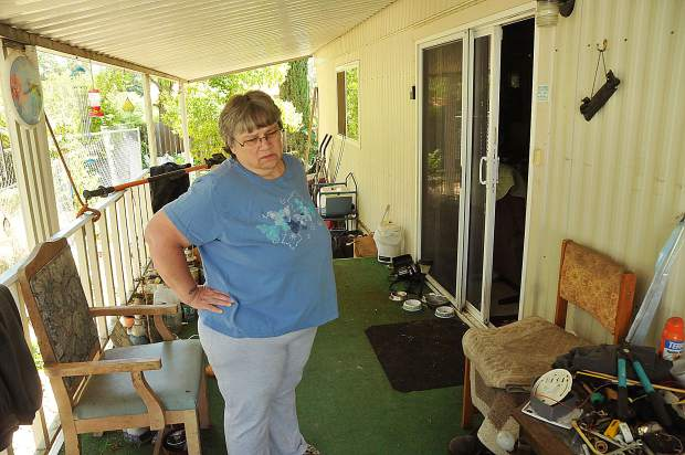 Roughly 2/3 of the Magliocca's Penn Valley mobile home was untouched by the oak tree and has been lived in by the couple until they can get the necessary repairs needed for their smashed up living room.