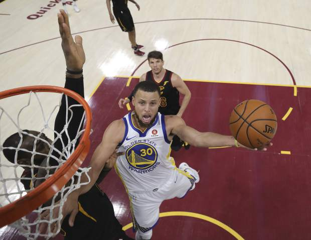 Golden State Warriors' Stephen Curry scored a game-high 37 points during Game 4 of basketball's NBA Finals, Friday in Cleveland. The Warriors defeated the Cavaliers 108-85.