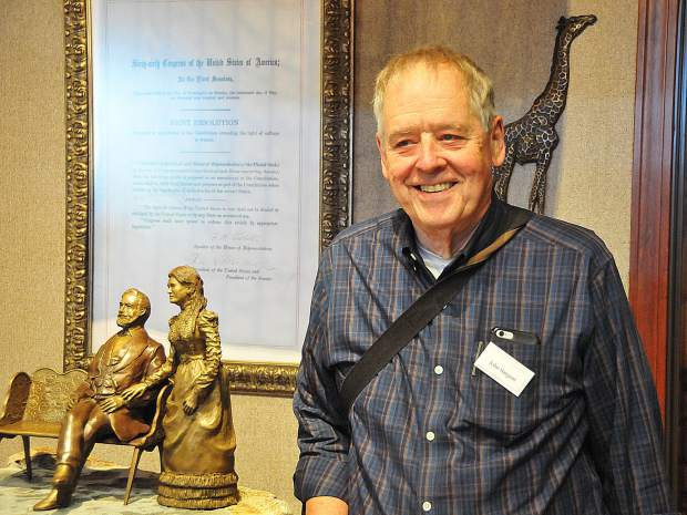 Great grandson of A.A. Sargent, John Sargent, was on hand during Thursday's maquette unveiling.