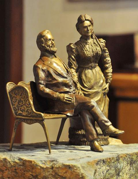 U.S. Senator A.A. and Ellen Clark Sargent were memorialized in a maquette statue unveiled by Auburn sculptor Douglas Van Howd and the Constitution Day Parade Famous Marching Presidents on Thursday at the artists' studio.