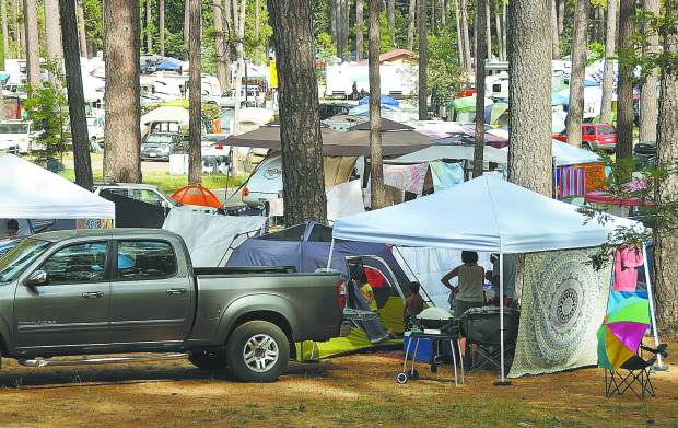 A tent city pops up overnight at the Nevada County Fairgrounds for California WorldFest, which ended it's four day run Sunday. The annual festival is a large tourism and economy driver for Grass Valley.