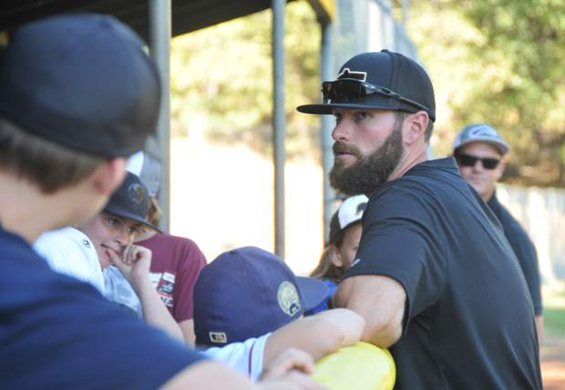 Justin Deme, head of baseball operations for Sierra Nevada Elite, leads a free summer baseball camp for youth ages 4 and up, earlier this week at Nevada Union High School.