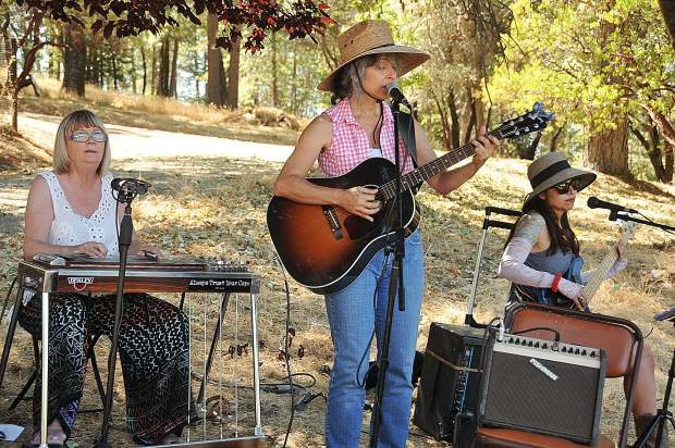 The Heifer Belles, including Kim Rogers, Juliet Gobert, and Toni Valenta-Pencille entertain the crowds at a Nevada County Grown Farm Trail stop.