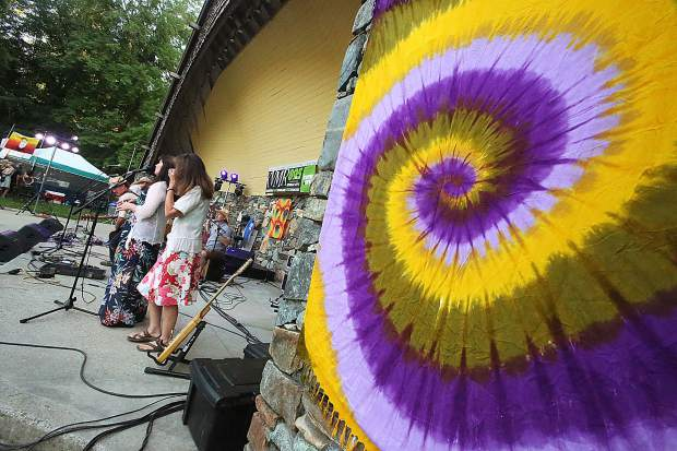 Tie die and floral print was abound during KVMR's 40th anniversary birthday bash Saturday at Pioneer Park.