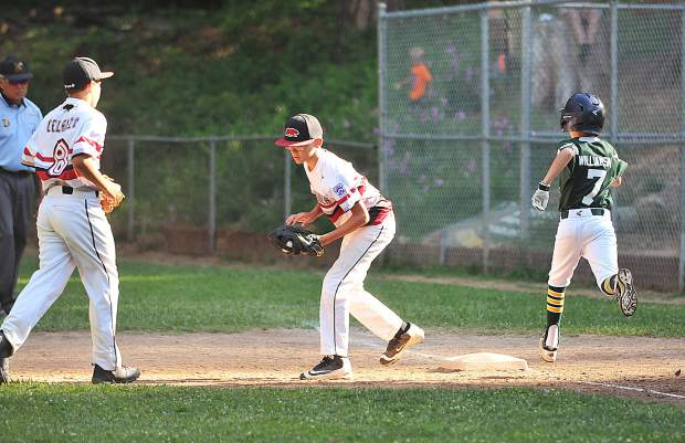 First baseman Blake Platzer gets the out with the help of team mate Ryder Celenza.