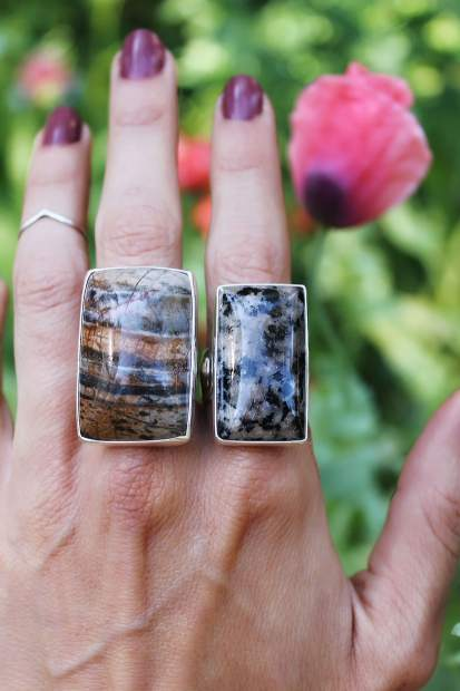 Leora Coronel, owner of Gather Jewelry, displays some of her rings from the Yuba Collection. Learn more at GatherJewelry.com