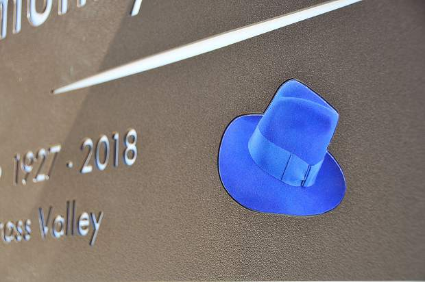 An image of one of Devere (Dee) Mautino's famous hats is emblazoned on a portion of the new Mautino Community Park sign, dedicated Tuesday morning by the Foothill Lions club of Grass Valley, who raised the necessary funds to erect the new park entryway.