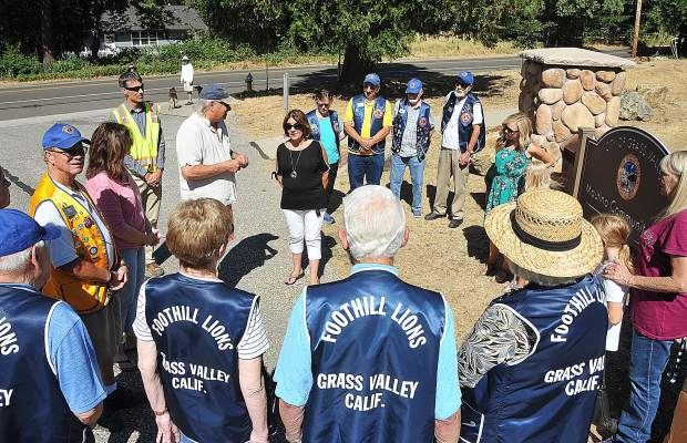 Members of the Foothill Lions club of Grass Valley were out in full force to dedicate the new Mautino Community Park sign at Mautino Park in Grass Valley. The Lions club was instrumental in raising all of the funds needed to build the park's new entrance.