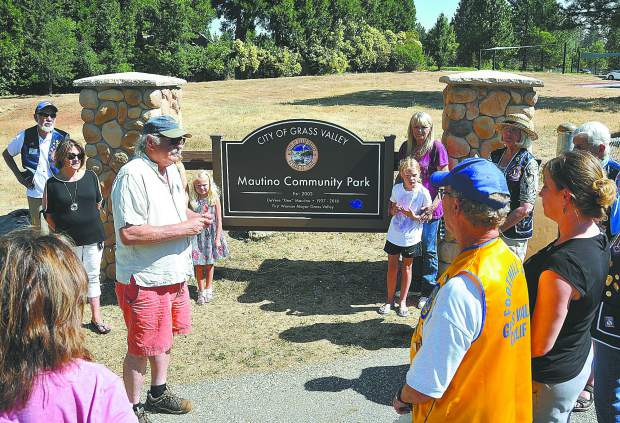 Grass Valley Mayor Howard Levine addresses the crowd in attendance of Tuesday morning's dedication of the new sign at Mautino Community Park off of Alta Street in Grass Valley. Mautino was Grass Valley's first female mayor and was a strong proponent for open space and the establishment of parks.
