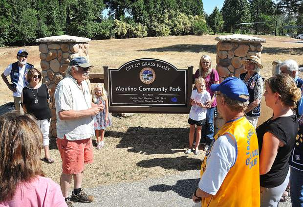 Grass Valley Mayor Howard Levine addresses the crowd in attendance of Tuesday morning's dedication of the new sign at Mautino Community Park on Alta Street in Grass Valley. Mautino was Grass Valley's first female mayor and was a strong proponent for open space and the establishment of parks.