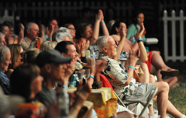 The crowd applauds Saturday night's Music in the Mountains Summerfest performance at the Nevada County Fairgrounds.