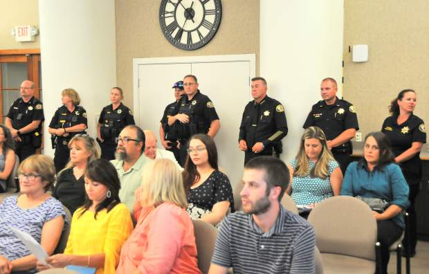 Members of the Nevada City Police Department show up to support the swearing in of interim Chief of Police James Leal during Wednesday evening's Nevada City Council meeting.