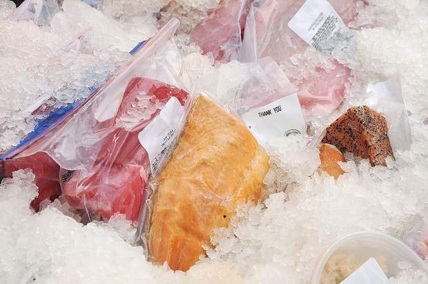 Fresh fish from The Little Fish Co. sits on ice during Saturday's Nevada City Farmer's Market.