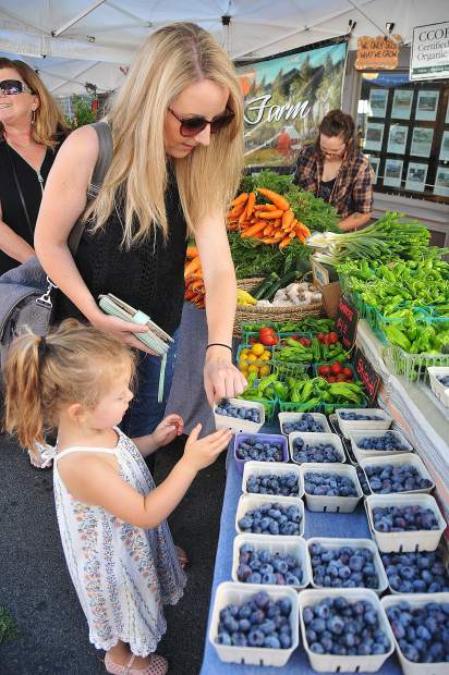Mary Reome and three year old daughter Marilyn pick out the perfect basket of blueberries from First Rain Farms during Saturday morning's Nevada City Farmer's Market. The popular market featuring fresh vegetables, fruit, and other eats, takes place every Saturday morning on Union Street from June through November, and first Saturday's in the months of December through May.