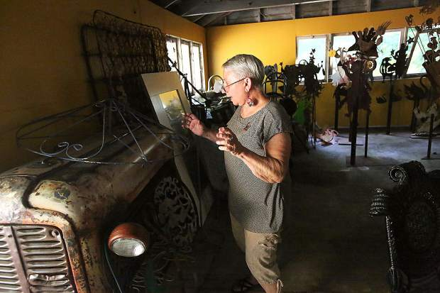 Ginny Davis is always dreaming of her next creation, one of which plans to include the front end of this tractor.