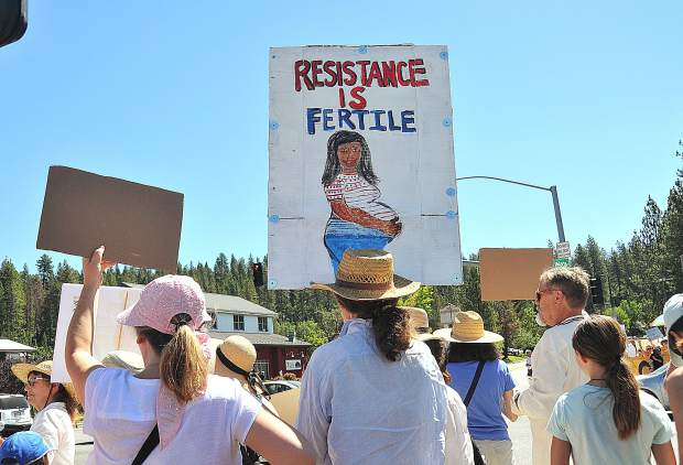 The signs of those attending the families belong together rally, ran the gamut including build the wall, we are all immigrants, and resistance is fertile, displayed at the corner of Brunswick and Sutton in Grass Valley Saturday morning.