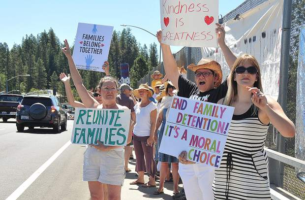 Brunswick Avenue was lined with more folks protesting for families to remain united rather than those wanting to build the wall along the southern border with Mexico during Saturday's Families Belong Together Rally in Grass Valley.