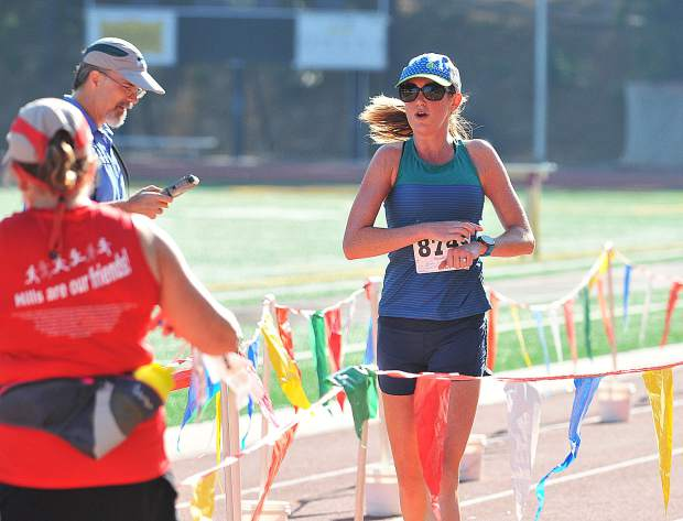 Tamara Torlakson, of Sacramento, won the women's race at the 12th annual Freedom Run 5K held Wednesday at Nevada Union High School.