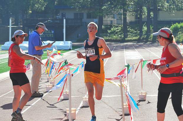 Garrett Gough won the men's race at the 12th annual Freedom Run 5K held Wednesday at Nevada Union High School.