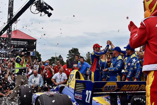 Alexander Rossi (27) won the IndyCar Series auto race, Sunday at Mid-Ohio Sports Car Course in Lexington, Ohio. It was Rossi's fourth since joining the IndyCar Circuit in 2016.