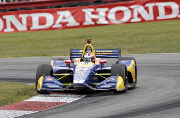 Alexander Rossi competes in the IndyCar Series auto race, Sunday at Mid-Ohio Sports Car Course in Lexington, Ohio.