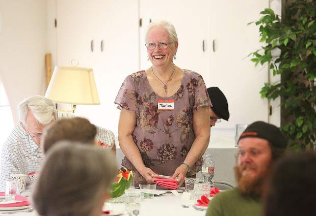 Sierra Roots' Janice O'Brien smiles as she welcomes those in attendance of Saturday's Dare to Dream fundraiser to build tiny homes for Nevada City homeless.
