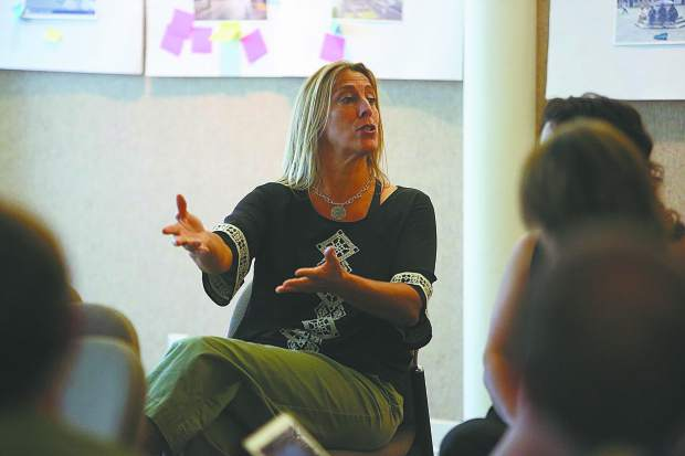 Nevada City vice mayor Reinette Senum gives some input during Tuesday's open spaces town hall meeting.