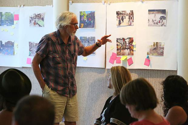 Local architect Chuck Durrett gives his input on the public spaces ides brought up during Tuesday morning's town hall meeting in Nevada City.