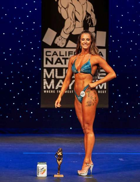 Shanna Rice, of Grass Valley, won the the novice figure tall division and was also the overall winner in the novice division at the 2018 California Natural Muscle Mayhem competition in Sacramento.