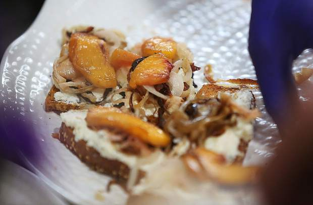 Summer Thyme's Peach and Goat Cheese Crostini was another popular taste for patrons during Thursday evening's Bounty of the County event.