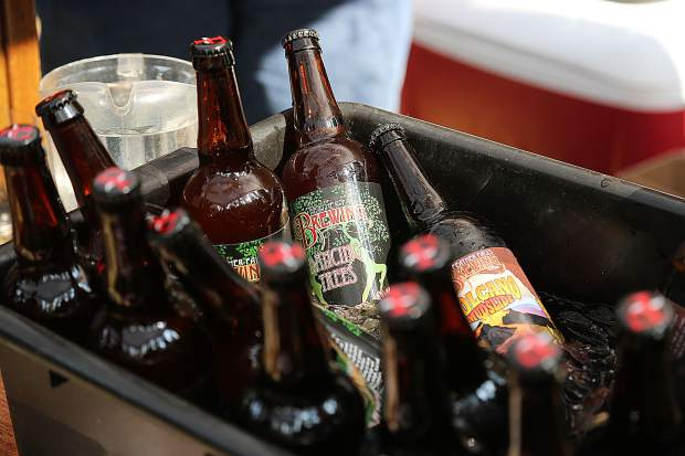 Bottles of Feather Falls' selection of micro brews are kept ice cold before being poured for Sierra BrewFest attendees.