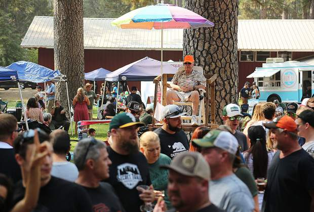 Designated lifeguards watch over the crowds of beer drinkers, ready to call in emergency help if need be during the 2018 Sierra BrewFest event which drew in over 600 participants Saturday at the Nevada County Fairgrounds.