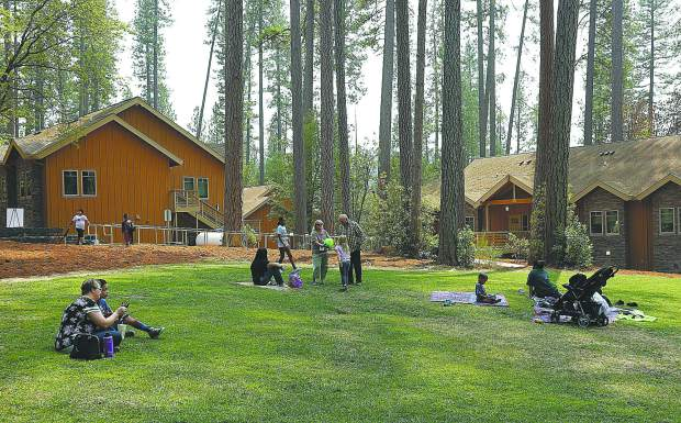 The Stephen S. Ball Conference Center at Camp Del Oro features a central open space area surrounded by the gymnasium and facilities.