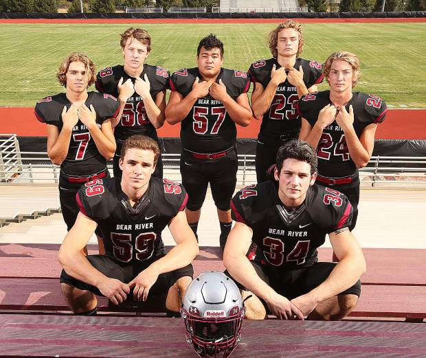 The defending Sac-Joaquin Section Division V Champion Bear River Bruins kickoff teh 2018 season tonight in South Lake Tahoe. Back row from left: Dylan Bergez-Scott, Jared Baze, Jonny Carrillo, Calder Kunde and Tre Maronic. Front row from left Sam Davis and Hunter Daniels.