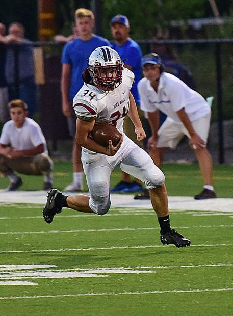 Bear River's Hunter Daniels ran the ball seven times for 61 yards during a game against South Tahoe Friday..
