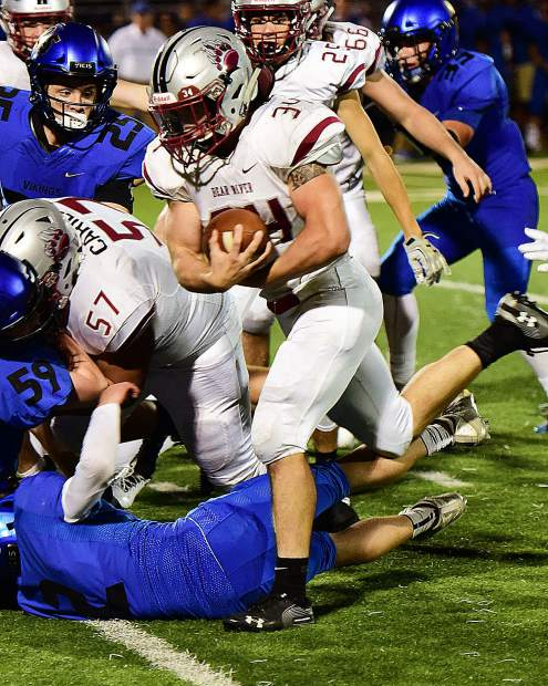 Bear River's Hunter Daniels ran the ball seven times for 61 yards during a game against South Tahoe Friday.