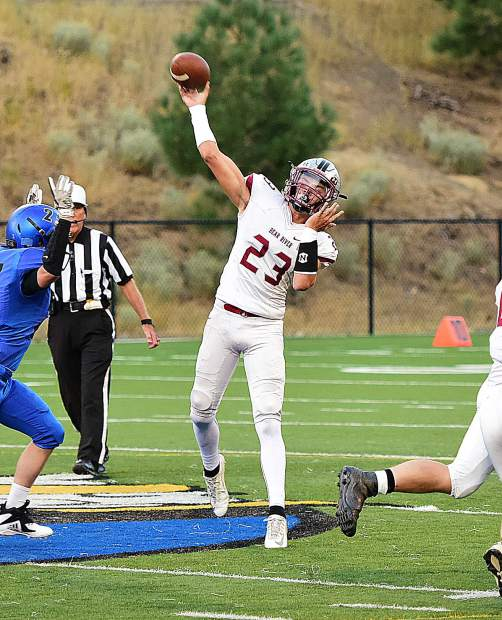 Bear River quarterback Calder Kunde went 7-for-12 for 119 passing yards and three touchdowns in the Bruins win over South Tahoe Friday.