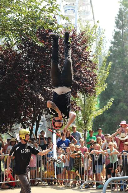 Tone Staubs of the XPogo Professional Extreme Pogo group performs a flip in front of the crowds.
